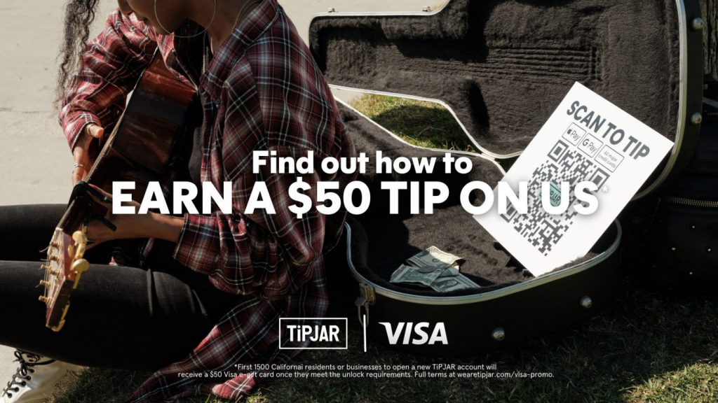 Earn a $50 tip on us. Find out how. visa x tipjar